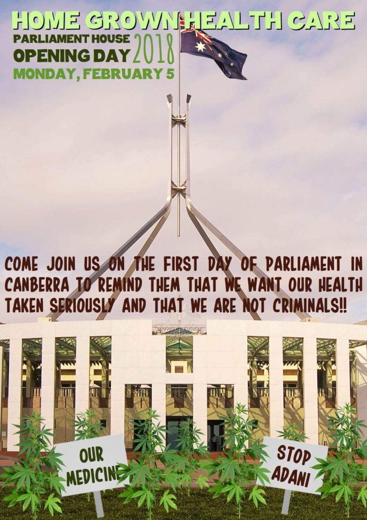 CANBERRA CANNABIS PROTEST FIRST DAY OF PARLIAMENT