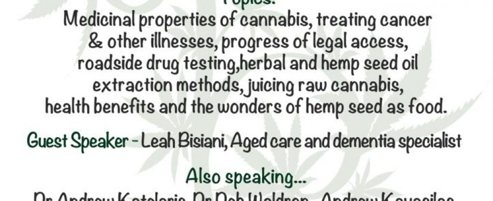 MEDICAL CANNABIS WORKSHOP, NIMBIN JANUARY 19th & 20th 2019