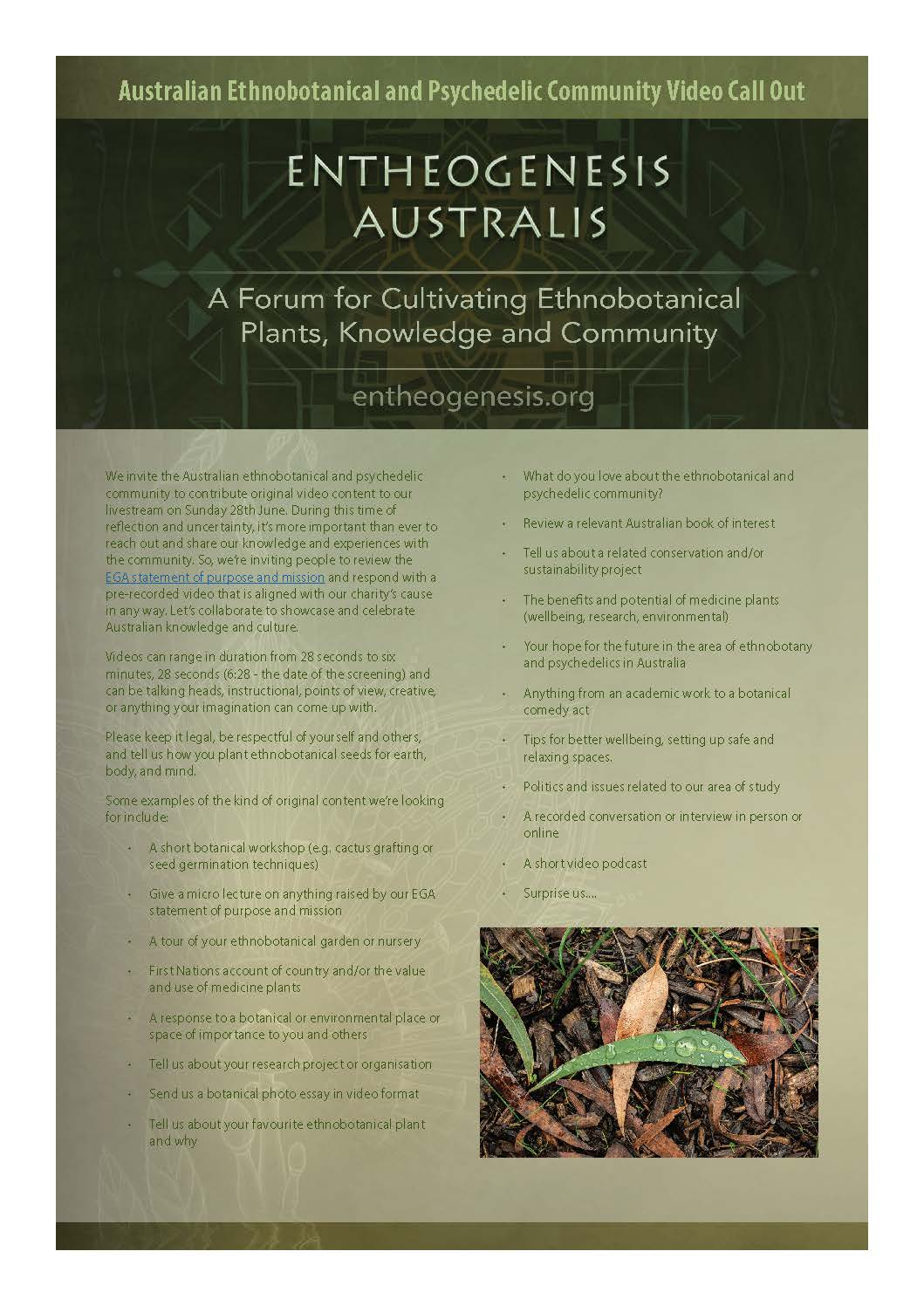 Australian Ethnobotanical and Psychedelic Community Video Call Out